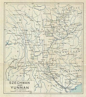 1924 Imperial Japanese Railway Map of the Yunnan and Sichuan Province, China