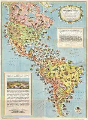 1930 Pictorial Map of North America and South America