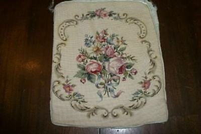 French Aubusson Needlepoint Petitpoint Roses Antique Pillow Cover Shabby Chic