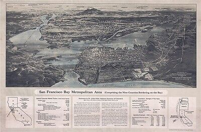 1932 Pacific Gas and Electric Bird's-Eye View Map of San Francisco, California