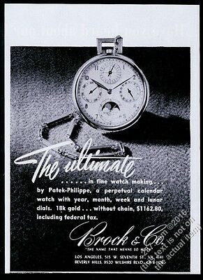 1945 Patek Philippe moonphase watch photo Brock & Co vintage print ad