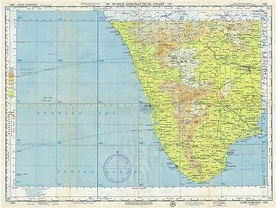 1954 U.S. Air Force Aeronautical Chart or Map of Southern India