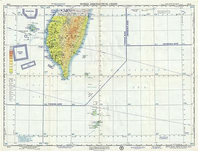 1958 U.S. Air Force Aeronautical Chart or Map of Southern Taiwan