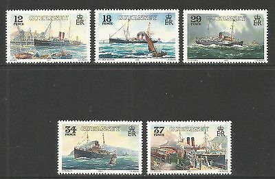 Guernsey 1989 Steamship Service 100th Anniv--Attractive Topical (411-15) MNH