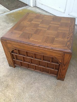 Vintage Square Oak Parquet Top End Side Lamp Table with Drawer