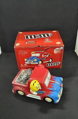 2004 M&M Red & Blue Truck Ceramic Candy Dish  ( by Galerie)