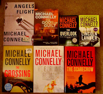 7 Michael Connelly books The Gods of Guilt Crossing 1st ed Burning Room Overlook