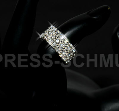 Ring Strassring Damen Universell Stretch Strass 3 Reihig Schmuck Silberfarben