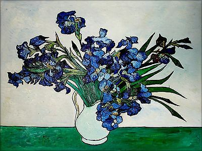 Vincent Van Gogh Vase of Irises Repro, Quality Hand Painted Oil Painting 36x48in