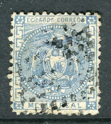 ECUADOR;  1872 early classic issue used 1/2r. value