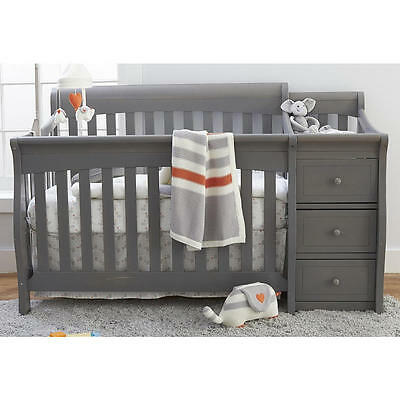 Sorelle Princeton Elite 4-In-1 Convertible Crib and Changer - Weathered Grey