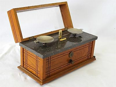 Antique APOTHECARY SCALE - Henry Troemner / Arts & Crafts Wood Case, Marble Top