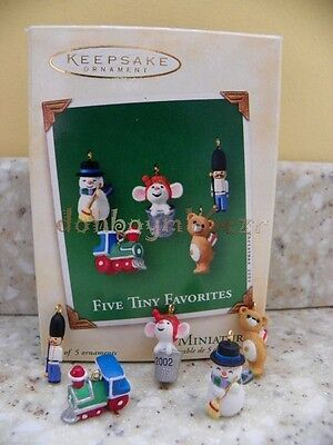 Hallmark 2002 Five Tiny Favorites Thimble Bear Snowman Train Miniature Ornaments