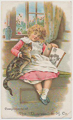 Little Girl, Cat - The Domestic Sewing Machine Co. - Victorian Trade Card 1880's