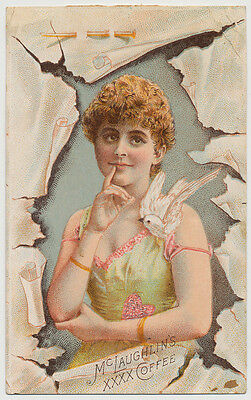 Beautiful Woman and Dove, McLaughlin's Coffee - Victorian Trade Card
