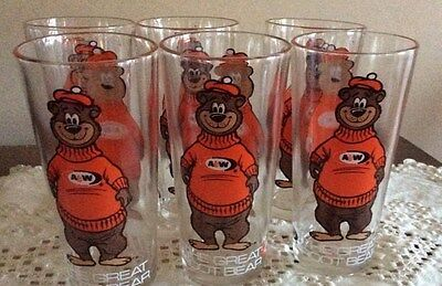 Vintage A&W Root Beer Rooty The Great Root Bear Collectable Glasses -set of 6