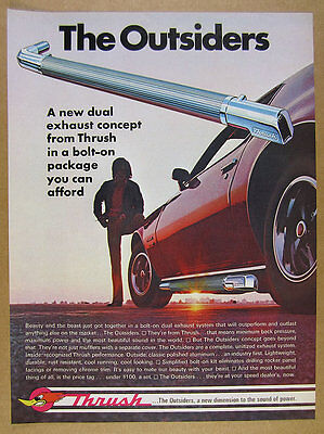 1971 Thrush 'The Outsiders' dual exhaust system mufflers vintage print Ad