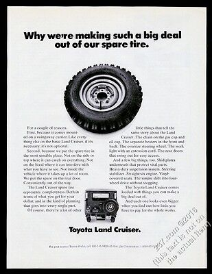 1972 Toyota Land Cruiser SUV and spare tire photo vintage print ad