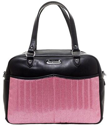 Sourpuss Retro Black and Pink Glitter Diaper Bag with Changing Pad Rockabilly