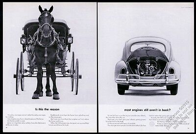 1963 VW Volkswagen Beetle classic car horse and buggy photo vintage print ad