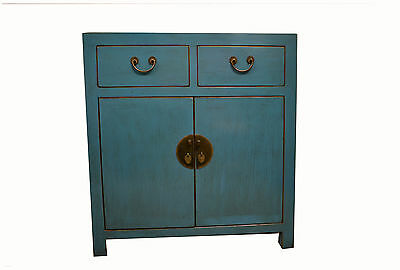 Chinese Pastel Blue Wooden Storage Cabinet 2 Doors & 2 Drawers 73-122a