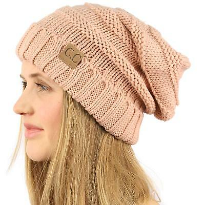 Oversized Chunky Thick Soft Stretch Knit Slouch Beanie Skull Ski Hat Cap Pink