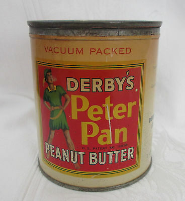 Vintage DERBY'S PETER PAN Peanut Butter Tin Can