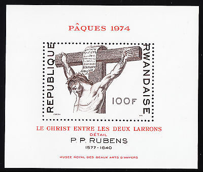 Rwanda — Scott 578 — 1974 Easter Christ Between Thieves Sheet— Mnh — Scv $12.50