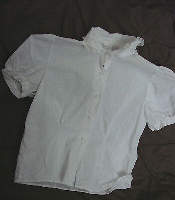 Vintage 60s Girls Childs Top Blouse White LACE Cotton 8-9 Kitty Kollier