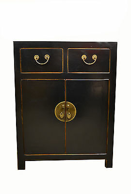 Black Chinese Wooden Storage Cabinet 2 Doors & 2 Drawers 73-122b