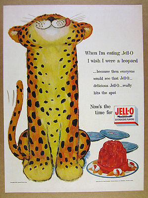 1954 CUTE smiling Leopard illustration art JELL-O Jello vintage print Ad