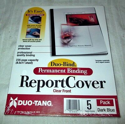 50 (10x5) DuoBind Duo-Tang Permanent Binding Report Covers - Clear Front Dk Blue