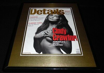 Cindy Crawford Topless Framed ORIGINAL 1992 Details Magazine Cover