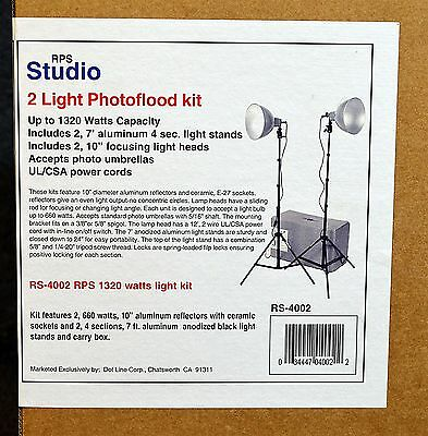 RPS Studio 2 Light Photoflood Kit RS-4002 NIB