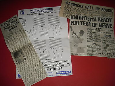 1995 Warwickshire V Northamptonshire Cricket Scorecard + Newspaper Cuttings