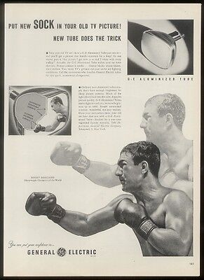 1953 Rocky Marciano photo General Electric TV set vintage print ad