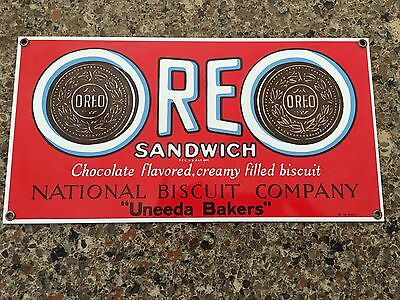 Vintage Ande Rooney OREO Sandwich Porcelain Sign National Biscuit Company 1990