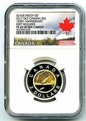 2017 Canada 150Th Anniversary Toonie Ngc Pf69 Ucam Gilt Silver Proof Two Dollar
