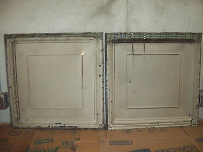 "2   24"" x 24"" Antique Tin Ceiling Tiles - Light Grey/Olive"