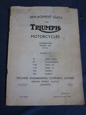 1958 Triumph Motorcycle Parts Catalog Speed Twin Thunderbird Tiger Trophy more