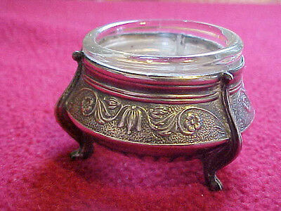 Vintage Art Nouveau Sterling And Glass Salt Cellar
