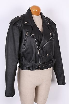 Vtg 90S Wilsons Black Leather Cropped Motorcycle Bomber Jacket Womens Large