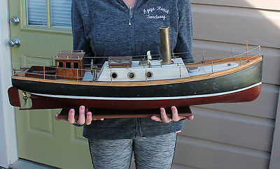ANTIQUE Vintage Model Wooden Live Steam Engine Steamship Ship Tug Boat Boucher