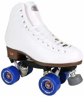 Riedell 111 Fame Roller Skates Traditional High Top Artistic Skate Blue Wheels