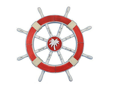 """Rustic Red Ship Wheel with Palm Tree 18"""" - Ship Wheel Decor - Beach Home Accent"""