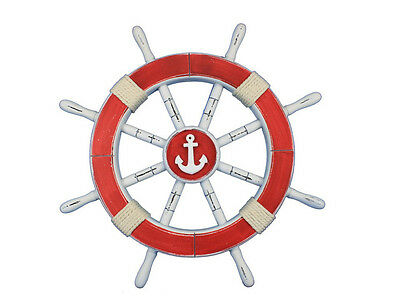 """Rustic Red Ship Wheel with Anchor 18"""" - Decorative Ship Wheel"""
