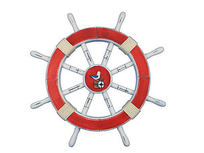 """Rustic Red Ship Wheel with Seagull and Lifering 18"""" - Beach Decoration"""