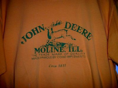 Vintage John Deere Logo Yellow Adult Large T-Shirt