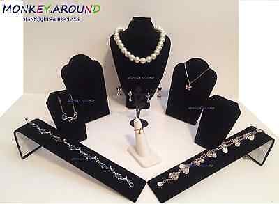 LOT 9 Fashion Elegant Jewelry Display Necklace Rings Bracelet Watch Black Velvet