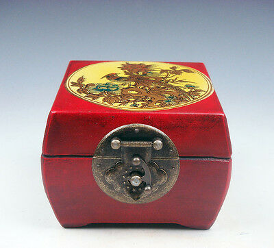 Red Finish Wood Square Jewelry Box Peacock BIrds Flowers Brass Lock #10221605